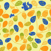 Seamless pattern with birds and leaves — Stock Photo