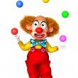Funny clown holding color balls — Stock Photo #13295629