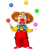 Funny clown holding color balls — Stock Photo