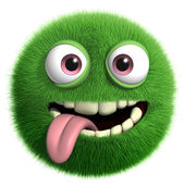 Green furry monster — Stock Photo