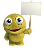 Yellow toy holding banner — Stock Photo