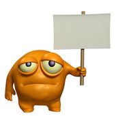 Sad monster holding placard — Stock Photo