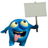 Blue monster holding placard — Stock Photo