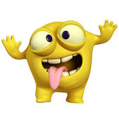 Crazy yellow monster — Stock Photo
