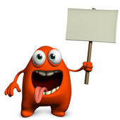Cute monster holding placard — Stock Photo