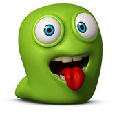 Green worm put out his tongue — Stock Photo