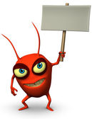 Red germ holding placard — Stock Photo