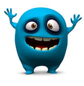 Happy blue monster — Stock Photo