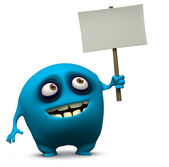 Blue monster holding blank board — Stock Photo