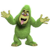 Crazy green yeti — Stock Photo