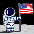 Astronaut planting flag on the moon — Vettoriali Stock
