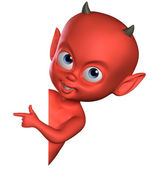 3d spiteful devil boy — Stock Photo