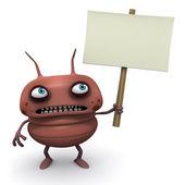 Red bug celebración junta en blanco — Foto de Stock