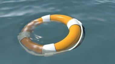 Lifebuoy at sea — Stock Video