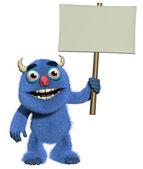 3d cartoon cute furry monster holding blank — Stock Photo