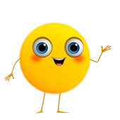 3d cartoon cute yellow ball — Stock Photo