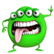 3d cartoon green monster — Stock Photo
