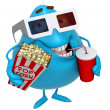 3d cartoon cute monster with drink — Stock Photo