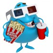 Stock Photo: 3d cartoon cute monster with drink