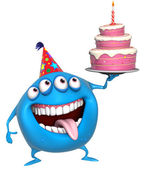 3d cartoon birthday.monster with cake — Stock Photo