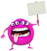 3d cartoon pink monster holding placard — Stock Photo