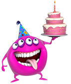 3d cartoon pink birthday monster with cake — Stock Photo