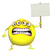 3d cartoon yellow monster holding placard — Stock Photo
