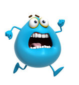 3d cartoon cute blue monster run — Stock Photo