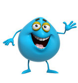 3d cartoon cute blue monster — Stock Photo