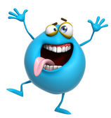 3d cartoon crazyblue monster — Stock Photo