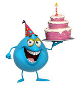 3d cartoon cute blue monster with cake — Stock Photo