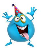 3d cartoon cute blue monster — Stock Photo