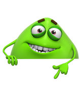 3d cartoon cute green monster — Stock Photo