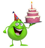 3d cartoon cute green monster with cake — Stock Photo