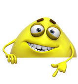 3d cartoon cute yellow monster — Stock Photo