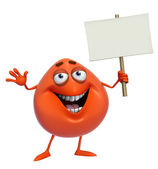 3d cartoon cute red monster holding placard — Foto de Stock