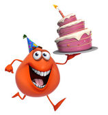 3d cartoon cute red monster with cake — Stock Photo