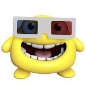 3d cartoon cute yellow monster — Stock Photo