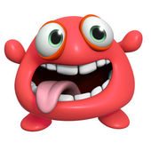 3d cartoon crazy red monster — Stock Photo