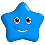 3d cartoon cute blue star — Stock Photo #25142673