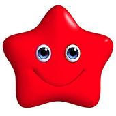 3d cartoon red star — Stock Photo
