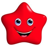 3d cartoon red star — Stock Photo
