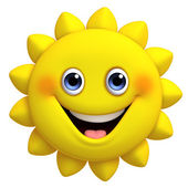 3d cartoon cute sun — Stock Photo