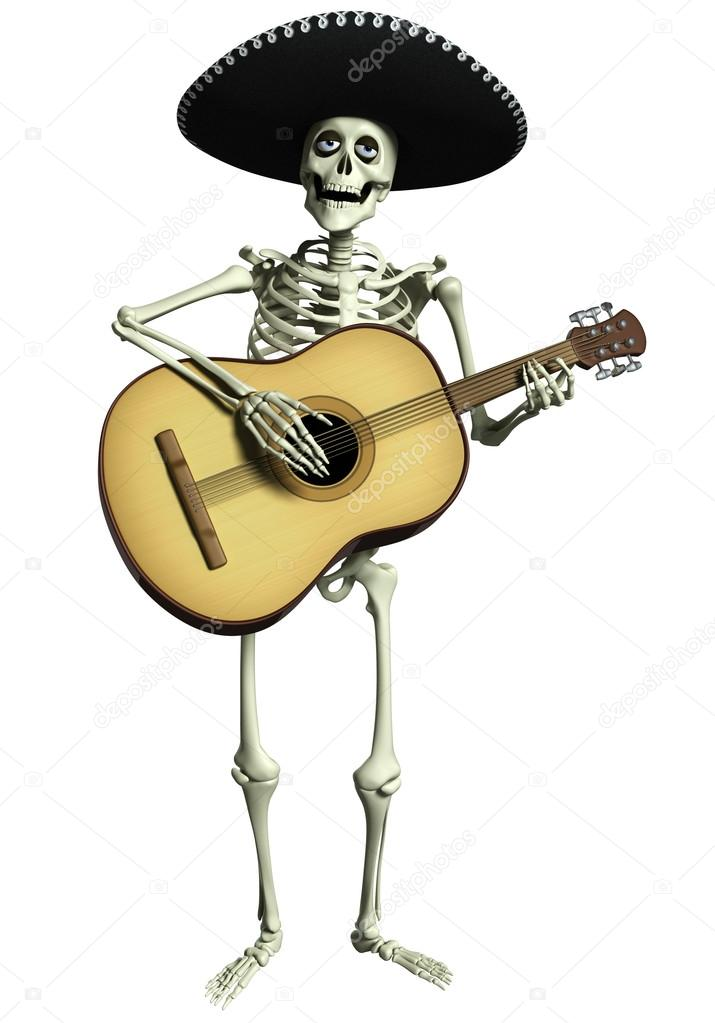 3D Cartoon Skelett mariachi — Stockfoto © bertoszig #31642703