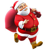 3d cartoon santa with a bag — Stock Photo