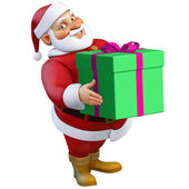 3d cartoon santa with present — Stock Photo