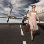 Ritratto di hostess in classico stile vintage — Foto Stock
