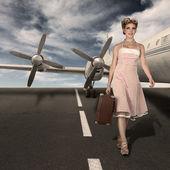 Vintage style classic stewardess portrait — Stock Photo