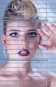 Fashion beautiful woman with creative art make up — Stock Photo