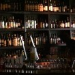 Barman cleans wine bar — Stock Video